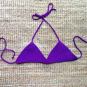 MIKOH neon bright purple bikini top